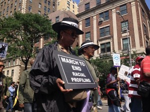 Image from a silent march to end stop and frisk and racial profiling.