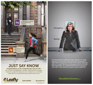 Left ad, Leafly; Right ad, GrassIsNotGreener.com